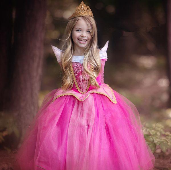 Brand New Children Girls Pink/Blue Long Sleeve Princess Dress Girls Birthday party dance dress Performance Costume prom dress D20