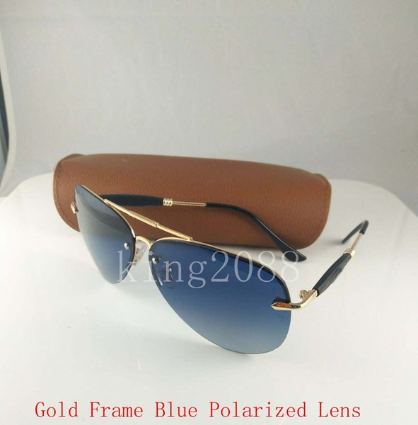 31f653c0a1 High Quality Mens Polarized Sunglasses Gold Frame Green Lenses 62MM Sports  Sun Glasses With Brown Case