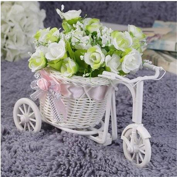 Wholesales BowKnot Rattan Tricycle Bike Basket Party Wedding Decor Gift Home Decor Storage Baskets Home Storage & Organization