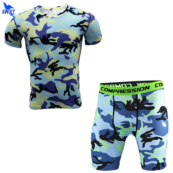 New Fitness Men Camouflage Compression Sets Short Sleeve T Shirt + Shorts Quick Dry Bodybuilding Tracksuit Running Tights Shirts
