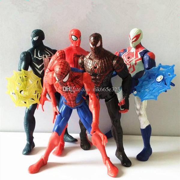 Spiderman Action Figures Cartoons PVC Collectable Model Avengers Civil War Comics Heroes Spider Man Toys with Fittings