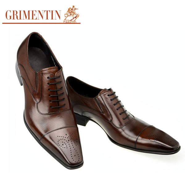 GRIMENTIN Hot sale genuine leather mens oxford shoes Italian fashion designer mens dress shoes for business wedding male shoes size:6-11
