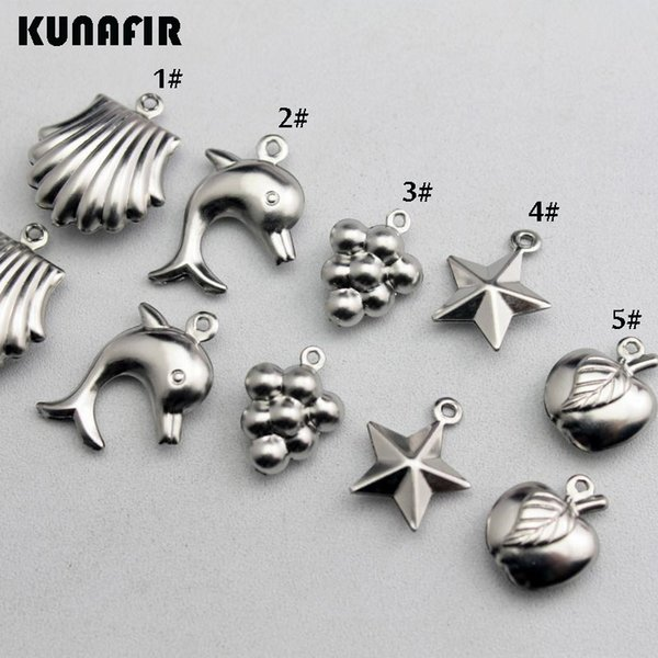 necklace charms Mini hollow pendants shell-dolphins-grapes-pentagram-apple shape stainless steel small tag can mix styles 100pcs/bag ZSP410