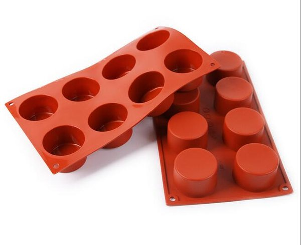 8 Holes Round Silicone Cake Mold 3D Handmade Cupcake Jelly Cookie Mini Muffin Soap Maker DIY Baking Tools