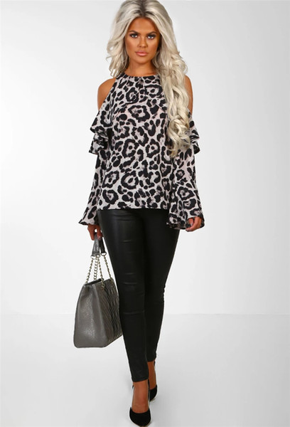 Women Leopard Print Shirts Blouse Tops DHL Bell Sleeve Off Shoulder Round Neck Women Sweatshirt Loose Soft Top Tee