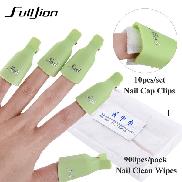 Fulljion ongles set 10 pcs Nail Cap Clips UV Gel Vernis Dissolvant Wrap avec 900 pcs / set Nettoyer Nettoyer Coton Pads Accessoires