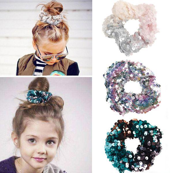 12 estilos Sirena Reversible lentejuela Hairband Niños Hairband Princesa corbata de pelo Charm Scrunchie Ponytail Accesorios para el cabello 60 unids T1G112