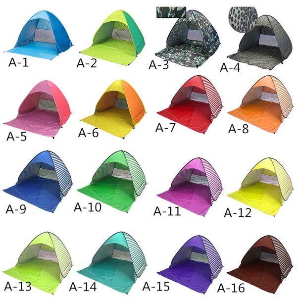 top popular Automatic Portable Pop Up Tents For 2-3 Person Outdoor Hiking Camping Sunny Shade Tent Beach Shelters UV Protection Multicolors 2021