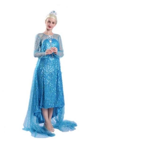 Frozen Dress Girls Halloween Costumes for Women Snow Queen Cosplay Princess Party Halloween Long Sleeve Dresses Halloween Party Costume