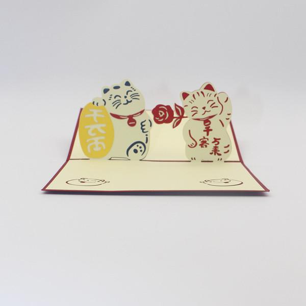 3D Pop Up Felicitous Wunsch Geld verdienen Grußkarte Maneki Neko Lucky Cat Wunschkarte für Unternehmen