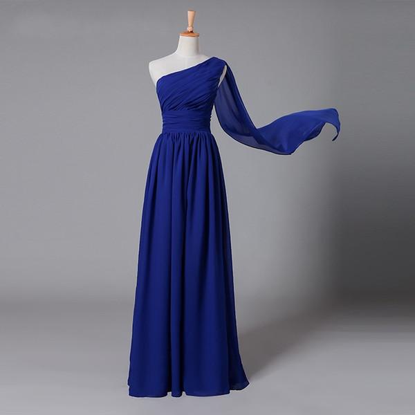 One Shoulder Chiffon Floor Length Royal Blue Ruffle Jumpsuit Sleeveless 2018 Custom Made Arabic Evening Gowns