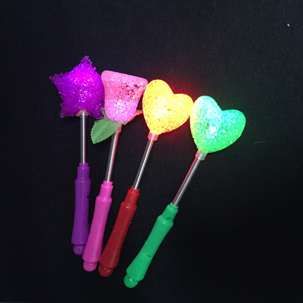 Rose Heart Star Design LED Magic Star Wand Flashing Lights Up Glow Sticks Party Xmas Halloween Star Heart Flower Sticks LED