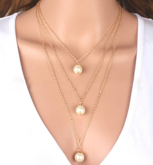 Hot style Multi-layer pearl necklace high-grade temperament foreign trade jewelry collarbone chain sweater chain items jewelry fashion class