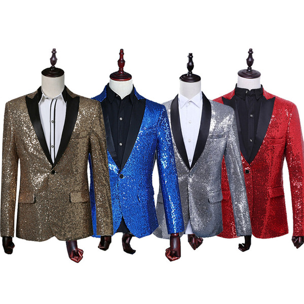 Gold sequins suits South Korea suits clubs men presided over celebrity studio performance dress coat