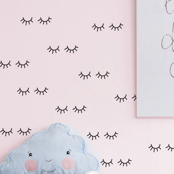 Cute eyelash pattern Wall decal removable Vinyl Wall Stickers For Kids Room Lovely Sleepy Eyes Baby Nursery Art Home Decor