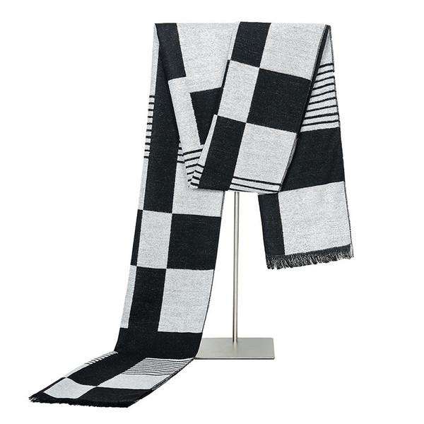Hot Sale Men Winter Scarf Soft Cotton Neckerchief Plaid Scarves Long Size Scarf Male Luxury Thick Warm Muffler
