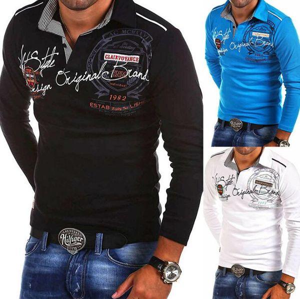 Personnalité de la mode pour hommes Cultiver Chemise à manches longues POLO Polo solide décontracté Polo Shirts imprimés Homme Polos Tops