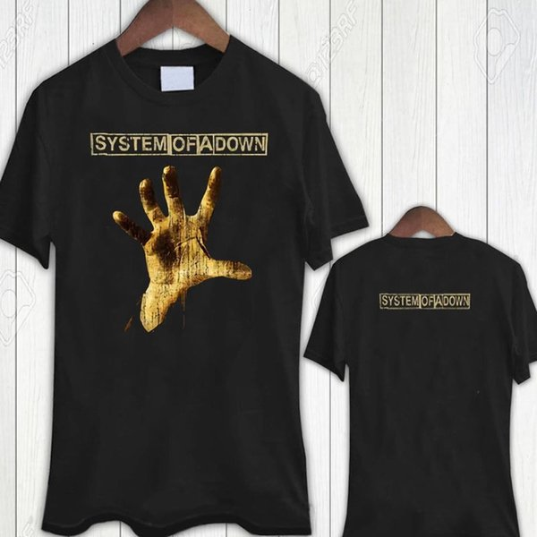 Sistema De Uma Mão Para Baixo Preto Tee Novo Tshirt dos homens T-Shirt Tamanho S para 3XL