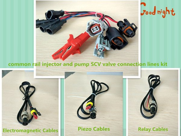 Diesel common rail injector and pump SCV valve connection lines and Tester Electromagnetic Piezo injector cable Relay Extension cord kit