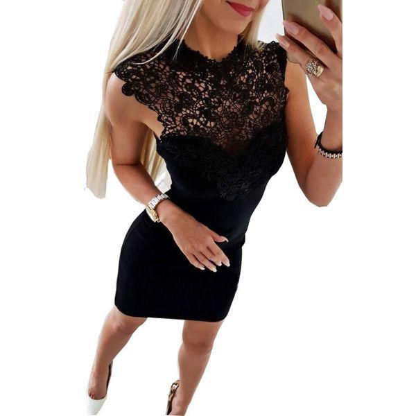 Vestidos das mulheres 2018 verão casual bodycon vestidos de festa preto branco sexy club slim fit lace emenda mini vestido