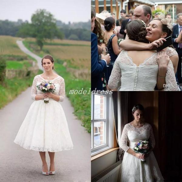 Country Short Lace Wedding Dresses 3/4 Long Sleeve Jewel Tea Length Garden Beach Plus Size Bridal Gowns robe de mariée