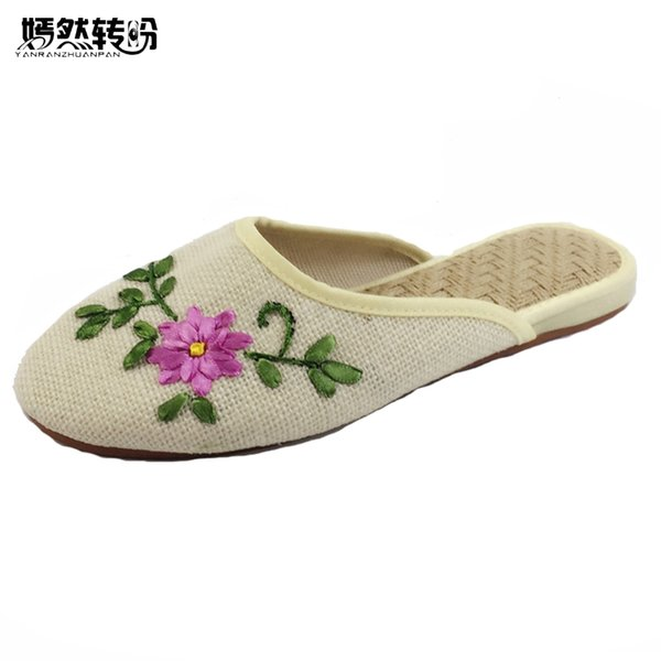 Vintage Fashion Women Slippers Flower Canvas Coon Fabric Linen Embroidery Comfortable Old Peking Shoes Sapato Feminino