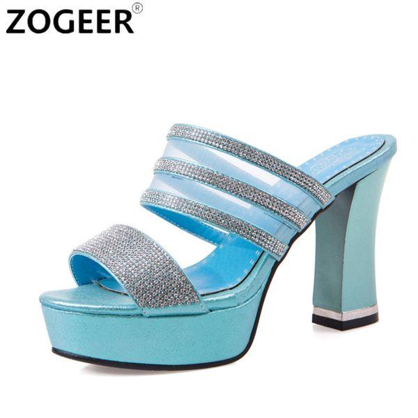 2017 Summer Thick High Heel Sandals Fashion Sexy Luxury Rhinestone Black Gold Slippers Causal Platform Flip flops Shoes Woman
