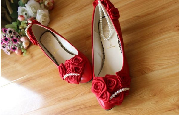 Free send Hot Red bride Pearl Wedding Shoes women flat bottom shoes heel 3cm ,5cm,8.5cm