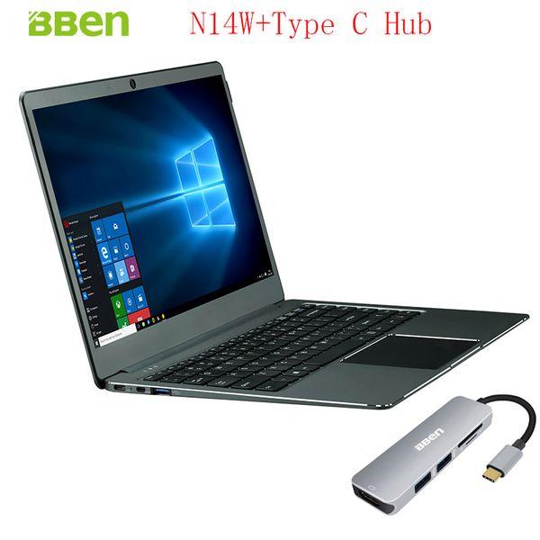 "Bben 14"" N14W Windows10 Intel Apollo N3450 CPU Silver/Pink Color 4GB/64GB Ram/Emmc+SSD option Notebook Computer with Type C HUB"