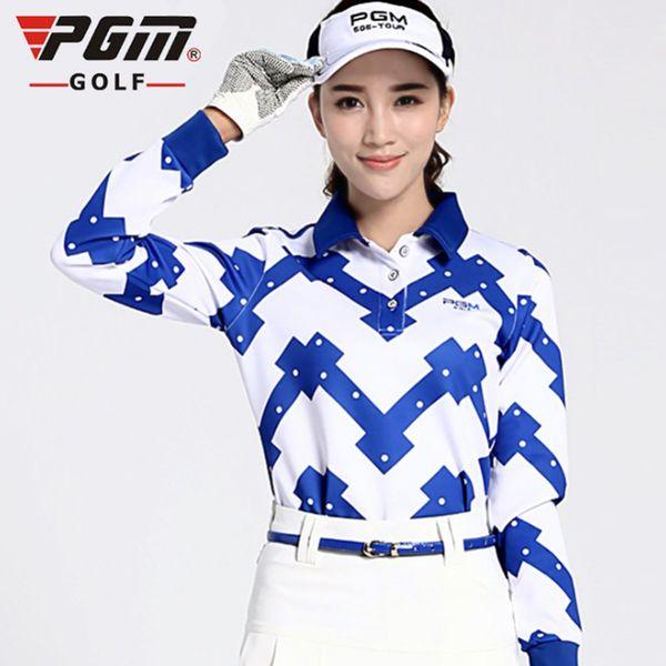 PGM Women Golf T-Shirt Golf Camisa Long Sleeve Tshirt Breathable Turn Down Collar Apparel Blue Printing Clothes