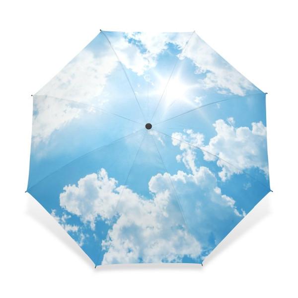 2018 Creative Luxury Fashion Three Folding Men Umbrella Sky Kazbrella Windproof Sun Rain Women Umbrella Accept Customized Design