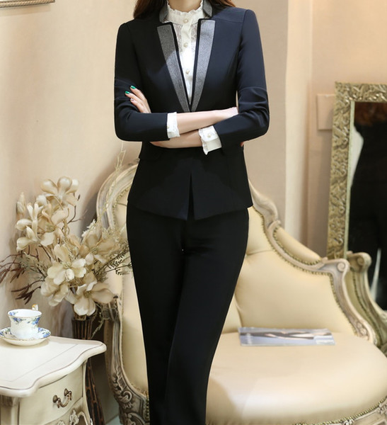 New Arrival Custom made Women Business Suits Formal Office Suits Work Long Sleeve Knee-Length Suits For Women (jacket+pants)