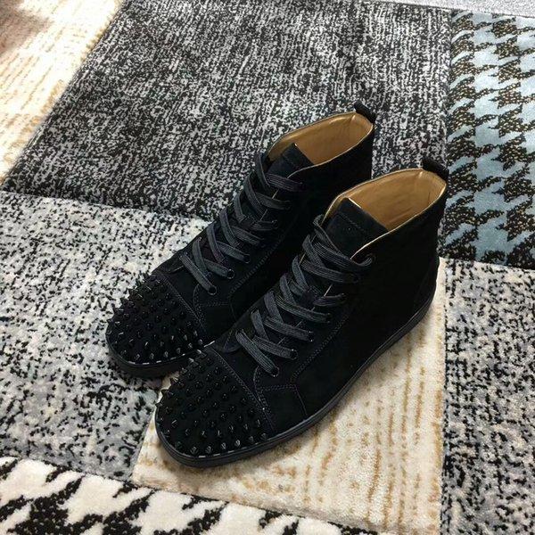 YENI 2018 Erkekler Kadınlar Kış siyah süet gerçek deri ayakkabı Kırmızı Alt Sneakers, Marka Rahat Ayakkabılar 35-46 Drop Shipping