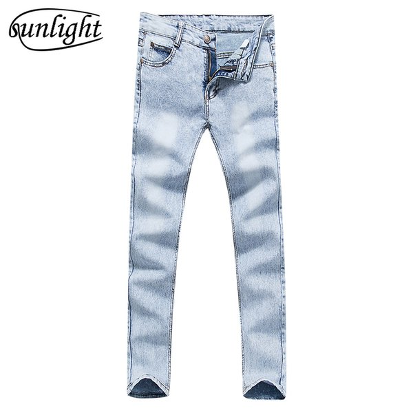 8b348cc62ab Men s high quality cotton stretch skinny jeans 2017 fashion brand trousers  sky blue white black blue