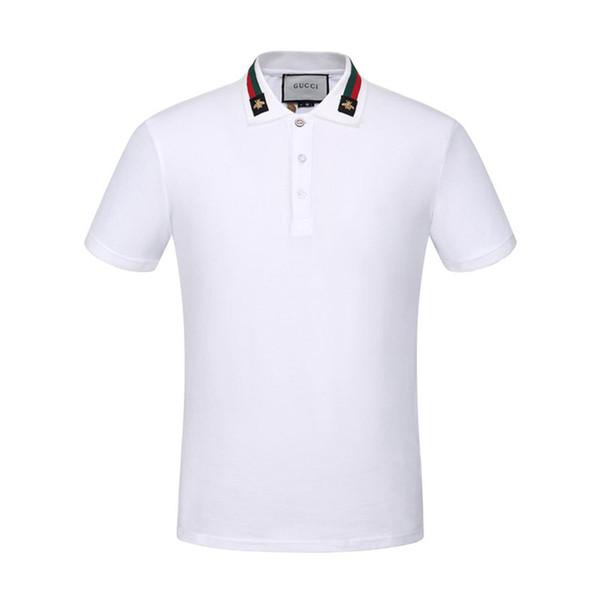 Hommes Casual Polo Shirt Été Angleterre Classique À Manches Courtes À Rayures Polos Top Marque Hommes De Broderie Pull À Col Revers T-shirt En Coton # 0572