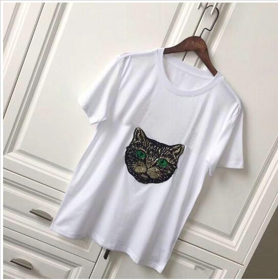 2018 Spring Summer best fashion luxury Brand for Women's T-Shirt Designer red green stripe letter tshirt cat paillette Runway Tees Casual