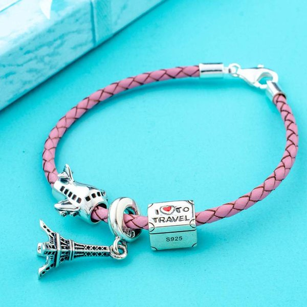 Haha Jewelry 925 Sterling Silver Paris Tour Charms Beads Pink Braided Leather Bracelet for DIY Pandora Style Charm Bead Travel Lover Gift