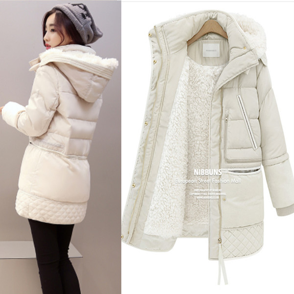 best selling Women Winter Plus Size 3XL Hooded Solid Color Lambswool Thick Padded Jackets Warm Mid Length Coats Parkas Veste Femme MZ1911