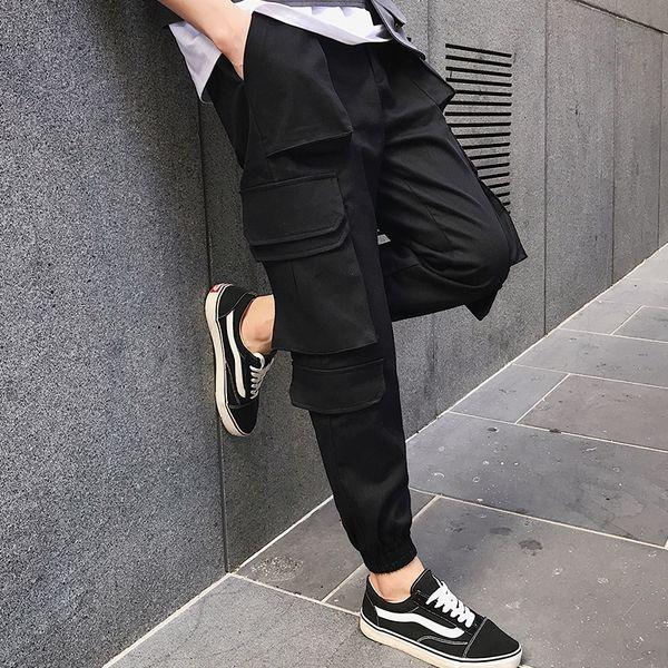 Slack noir à la mode pantalon homme pantalon de travail de style coréen à jambes multiples. S-6XL !!