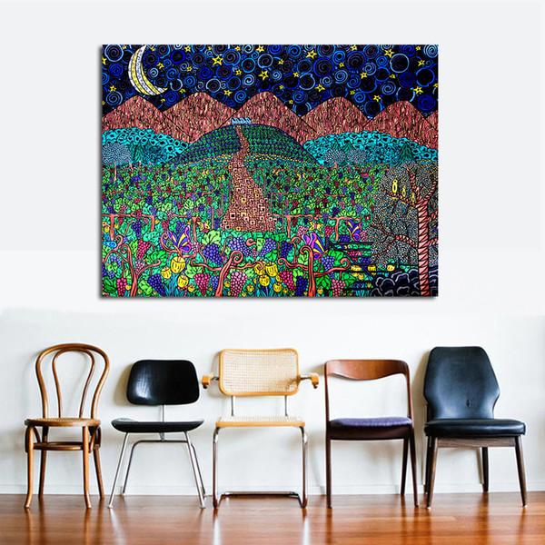Acquista Sotto La Luna Dell\'uva Immagini Di Parete Moderne Soggiorno  Pittura Murale Immagine Su Tela No Frame A $24.96 Dal Framedpainting |  DHgate.Com