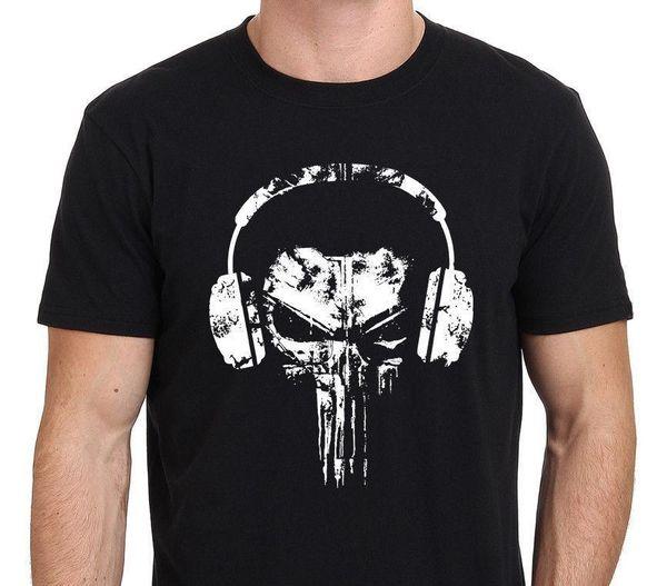 The Punisher Skull Headphones Logo Funny T-Shirt para hombre Negro: S-3XL Lindo Tatoo Lover Camiseta Fashion Top