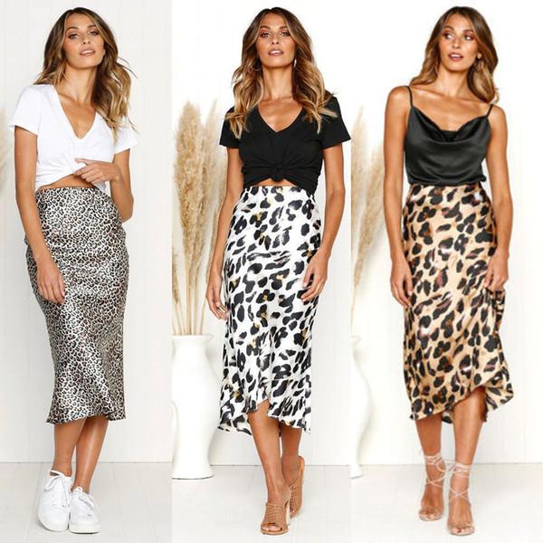 Estampado de leopardo de la vendimia de las mujeres del estiramiento de cintura alta falda liso patinador acampanado falda larga plisada sexy falda Streetwear 2019