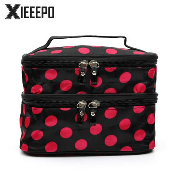 Women Hanging Cosmetic Bag Travel Functional Zipper Makeup Case Double Layer Make Up Bags Organizer Storage Pouch Toiletry Bag