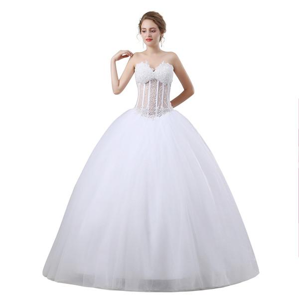 2018 The New Elegant Luxury Sequined Strapless Lace Wedding Dress Vintage weddding dress vestido de noiva 665009