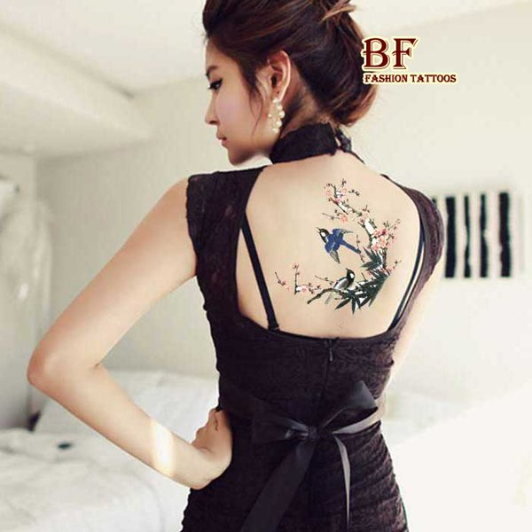 10pcs large big Plum bird design Temporary tattoo stickers Waterproof body paint Female Art & Beauty Waist Drawing free shipping