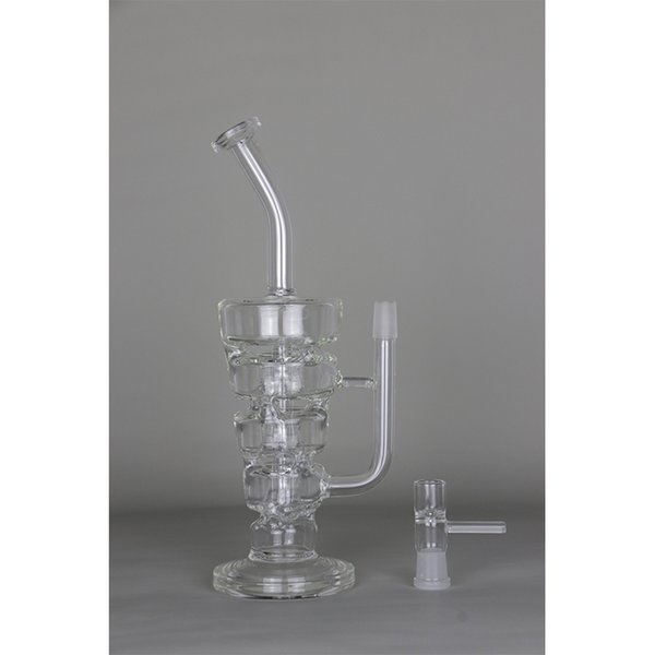 Glass bong 11 inches Dab Oil Rig ''River'' Always Recycler 5mm Thick Glass water pipes 340g