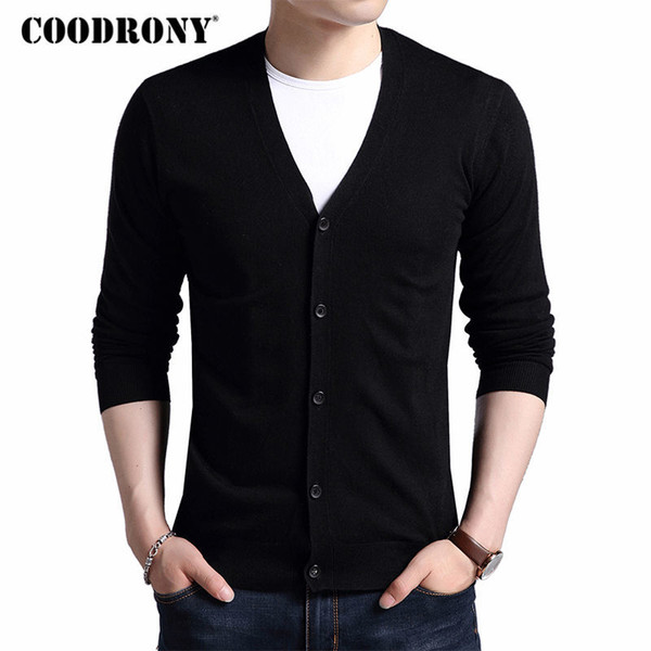 COODRONY Cardigan Men 2017 New Autumn Winter Warm Cashmere Wool Sweater Cardigans Classic Solid Color V-Neck Mens Sweaters 7402Y1882203