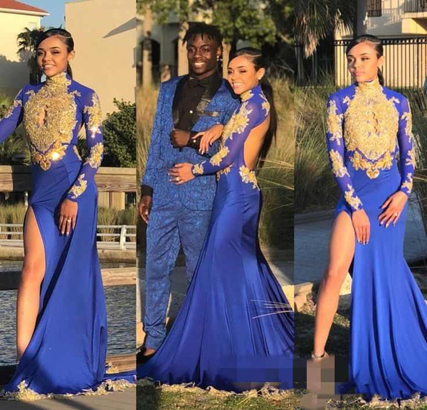 Sexy Open Back Royal Blue Mermaid Prom Dresses Gold Lace Appliqued Beaded High Collar Long Sleeve Side Slit Black Girls Evening Party Gowns