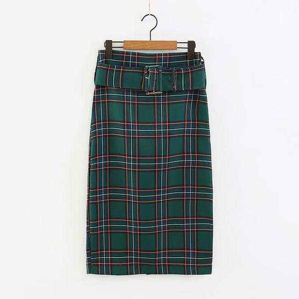 2018 Nuevas Mujeres con cuadros verdes a cuadros de impresión midi falda recta moda damas cremallera fajas ocasionales de la marca delgada faldas QUN176