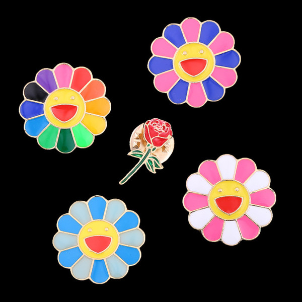 1 Pc Cute Fashion Cartoon Colorful Sun Flower Drop Oil Brooch Jacket Backpack Pins Badge Jewelry